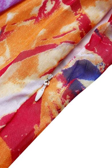 Bohemian Style Print Open Back Plunge Neck Split Chiffon Slip Beach Dress