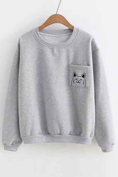Neck Cartoon Sleeve Print Cat Long Sweatshirt Round Pullover vvgXqP