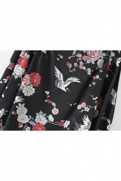 Chic Crane Floral Print Off Shoulder Long Sleeve Blouse