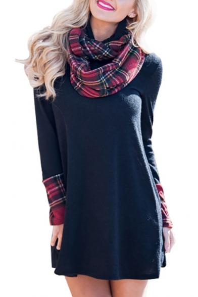 Chic Plaid Color Block Long Sleeve Turtleneck Mini Dress