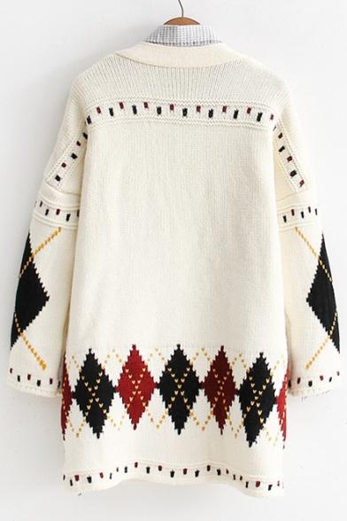 Rhombus V Single Long Tunic Print Breasted Neck Chic Cardigan Sleeve Hq1WnFOwOx