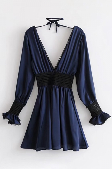 Chic V-Neck V-Back Bow Tie Blouson Sleeves Gathered Waist Sexy A-line Dress