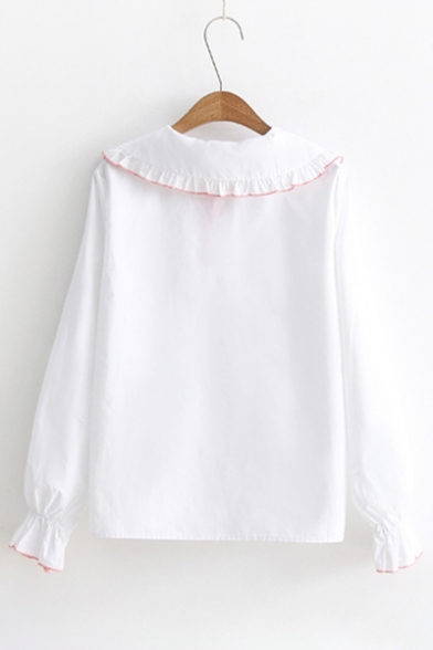 Fashion Bow Embroidered Peter Pan Collar Long Sleeve Button Down Shirt