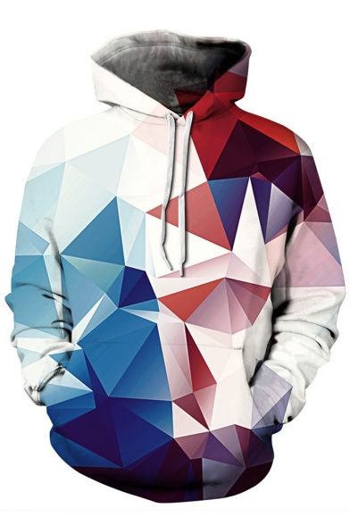 Fashion Color Block Print Long Sleeve Pocket Hoodie for Couple