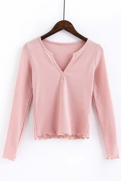 Fashionable Long Sleeve V-Neck Simple Plain Cropped Tee