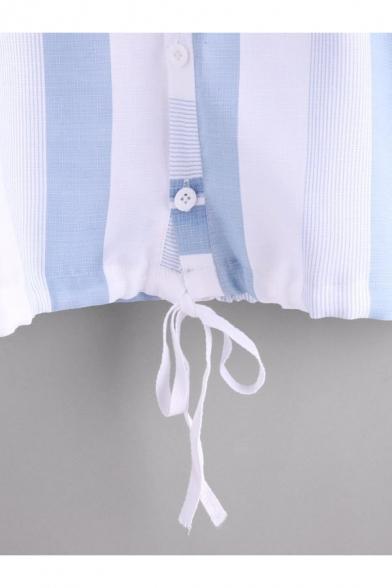 Leisure Button Down Half Sleeves Striped Pattern Hooded Drawstring Waist Shirt