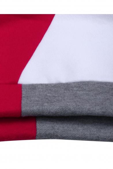 Leisure Color Block Half Sleeve Pocket Loose Hoodie