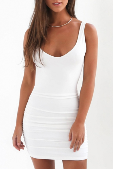 Natural Scoop Neck Sleeveless Plain Slim-Fit Open Back Bodycon Mini Dress