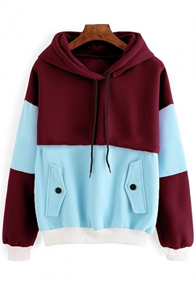 Fashionable Color Block Sleeve Long Hoodie Print New 6dqOx5d