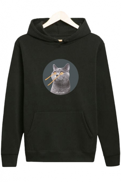 New Stylish Cat Print Long Sleeve Pocket Hoodie for Couple