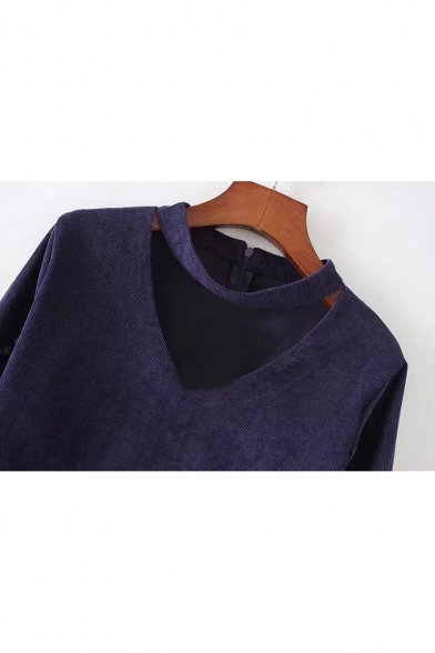 V Zipper Blouse Neck Back with Long Pom Sleeve Simple Plain Pom H5nqR1U1w
