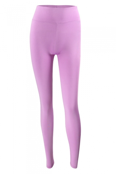 bc15d2c340 ... Sportive Double Pockets High Waist Slim-Fit Plain Workout Pants ...