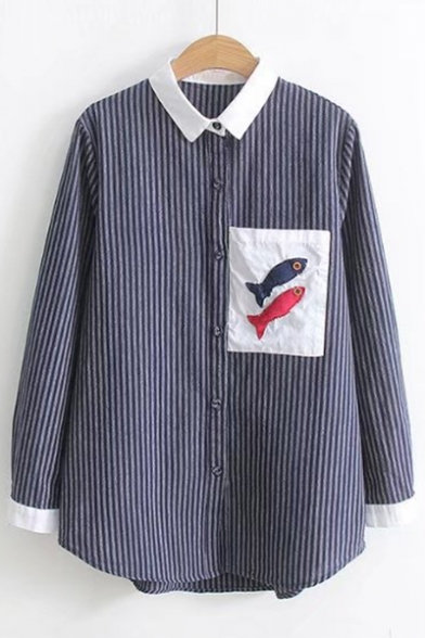 Fish Button Pocket Contrast Point Stylish Pattern Shirt Striped Down Long Chest Collar Sleeves xwZq1dB