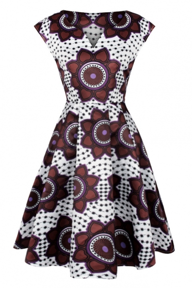 Stylish Floral Star Printed V-Neck Fit & Flare Midi Dress
