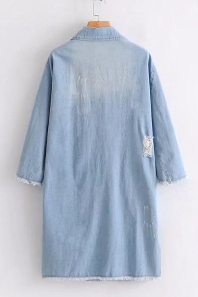 Stylish Notched Lapel Double Breasted Ripped Off Pocket Longline Denim Jacket