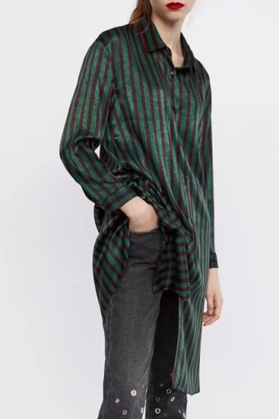 Stylish Striped Pattern Point Collar Long Sleeves Button