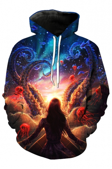 Unique World Character Galaxy Octopus Pullover Printed Pocket Hoodie Girl Magic with fwF1rf