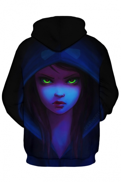 for Sleeve Drawstring Casual Pocket 3D Print Hoodie Cartoon Figure Long Hood Couple n77BqHv