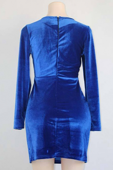Chic Plain Long Sleeve Square Neck Double Breasted Velvet Dress