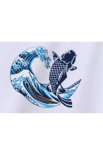 Ocean Wave Fish Sea Sleeves Round Casual Printed Chic Neck Short Tee a46Uxnw