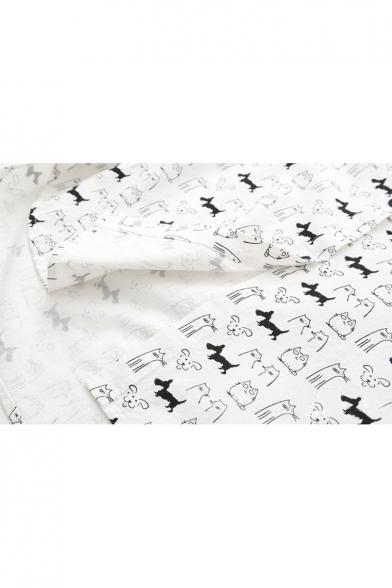 Childish Dog Cat Cartoon Pattern Contrast Lapel Button Down Tunic Shirt