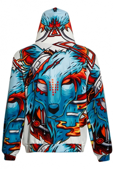 Zipper Wolf Sleeve Long Print Drawstring Hoodie Digital Hood RWCYdEqqFP
