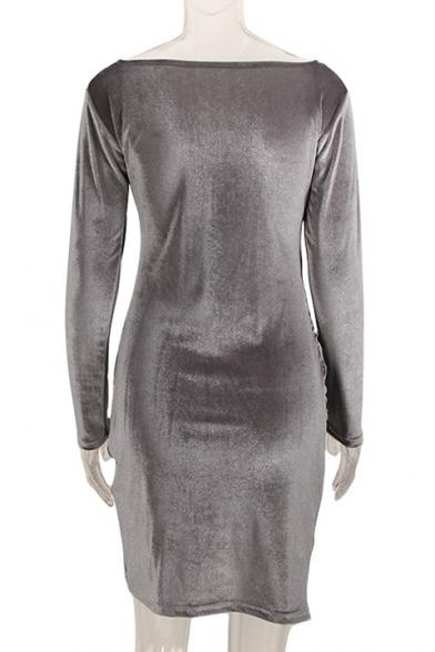 Fancy Plain V-Neck Long Sleeves Mini Wrap Velvet Dress