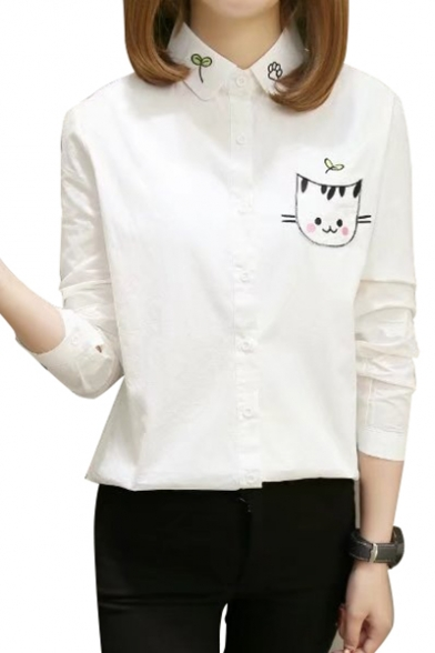 Fashionable Cartoon Cat Embroidered Lapel Single Breasted Long Sleeve Shirt