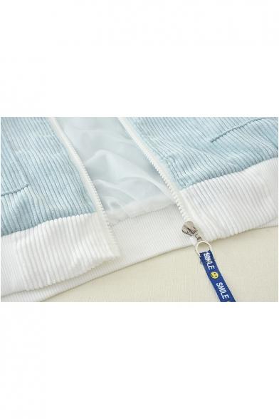 Fashionable Color Block Print Raglan Sleeve Stand-Up Collar Coat