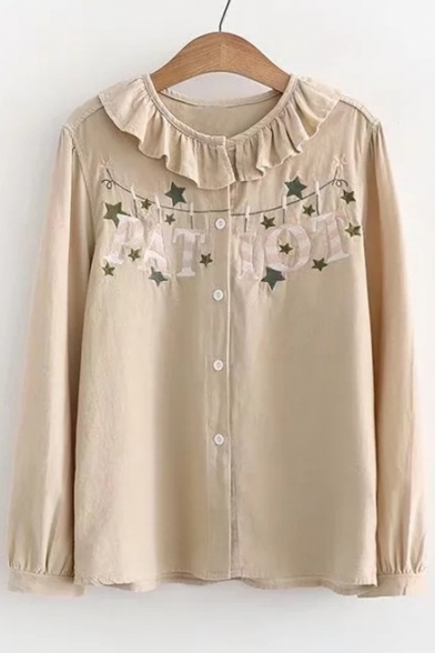 Embroidered Long Collar Fashionable Shirt Peter Pan Ruffle Letter Star Sleeve AUqE0