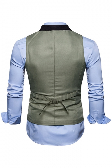 Men's Fashion V-Neck Color Block Single Breasted Belted Back Slim-Fit Vest