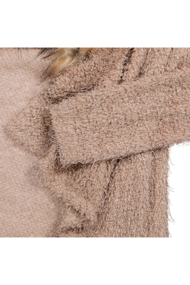 New Fashion Faux Fur Collar Long Sleeve Open Front Coat