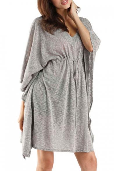New Trendy Plain Batwing Sleeve V-Neck Simple Plain Drawstring Waist Dress
