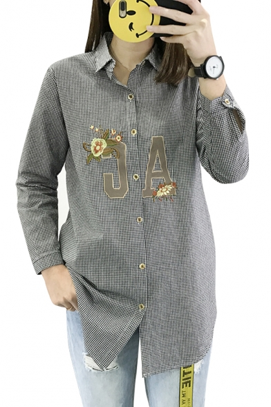 Floral Lapel Long Plaid Tunic Shirt Letter Pattern Sleeve tUwUnIdfq
