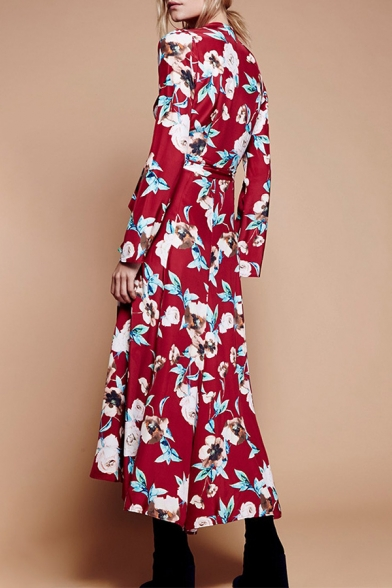 Maxi Neck Dress Tie Printed Sleeve Floral Long Waist Split Plunge Front z0FdHxwqHv