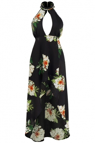 Popular Floral Pattern Cutout Halter Neck Open Back High Low Hem Dress