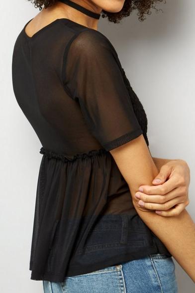 Waist Patchwork Sleeves Popular Sheer Hem Peplum Round Neck Short Blouse High 88f6xtq