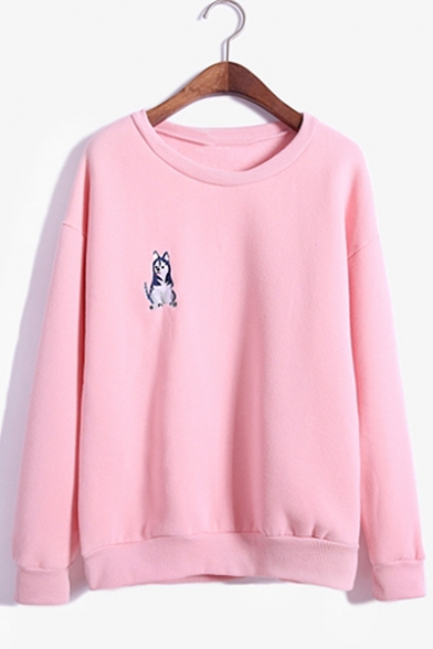 Simple Husky Dog Pattern Round Neck Long Sleeves Pullover Leisure Sweatshirt