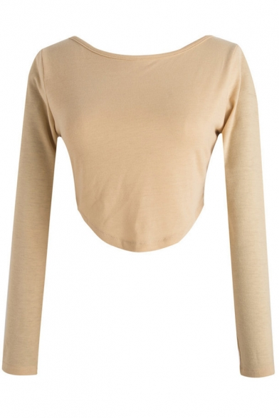Simple Plain Zipper Back Long Sleeve Round Neck Cropped Tee