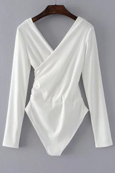 Bodysuit V Long Front Sleeves Wrap Fit Back Plain Simple Slim n4PTqwHx