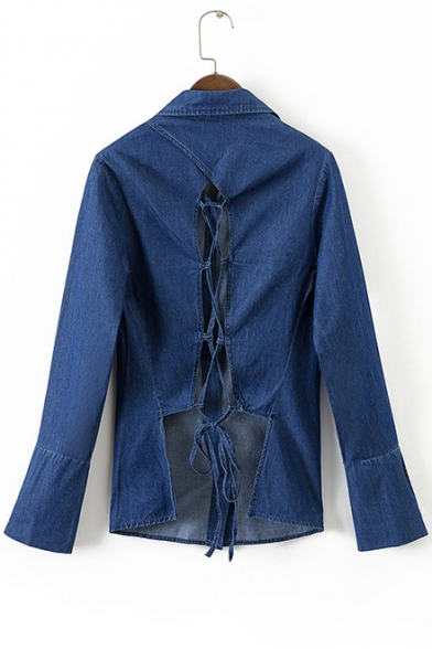 Trendy Plain Lace-up Cutout Hollow Back Long Sleeves Button Down Denim Shirt