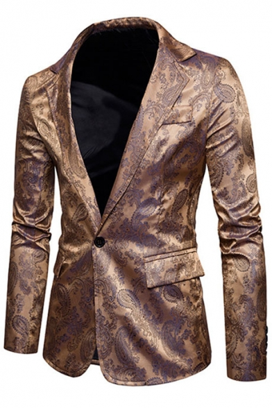 Trendy Sleeves Lapel Single Slim Printed Button Fit Pockets Long Blazer Notched Flap HqrfH