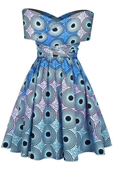 Unique Kaleidoscope Printed Multi-Way Belted Fit & Flare Mini Dress