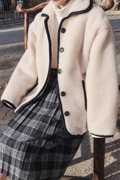 Winter Down Faux Contrast with Fur Over Button Pockets Sized Button Down Lapel Fashion Trimmed Coat rvqEgOr
