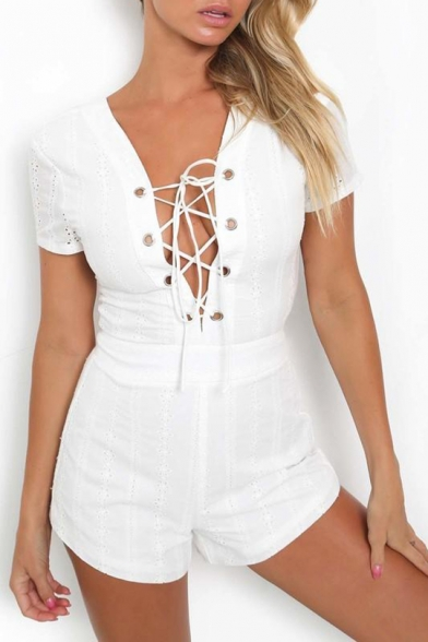 Women's Sexy Short Sleeves Plunge Neck Strappy Back Slim-Fit Rompers