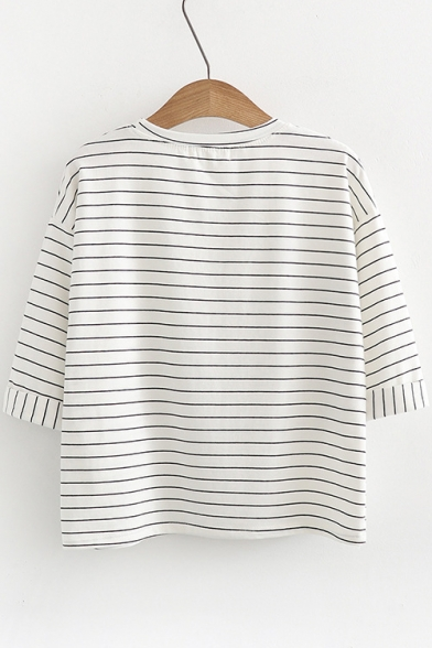 Zebra Graphic Round Striped Sleeve Letter Tee Half Neck Print rqrHxg0