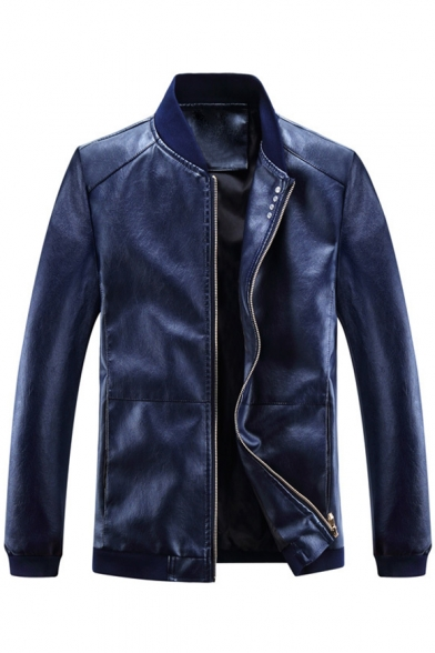 Basic Plain Faux Leather Zipper Stand-Up Collar Long Sleeve Jacket