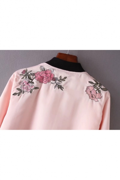 Chic Floral Butterfly Embroidered Single Breasted Stand-Up Collar Long Sleeve Jacket