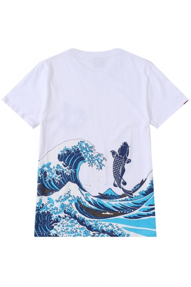 Chic Sea Ocean Wave Fish Printed Round Neck Short Sleeves Casual Tee