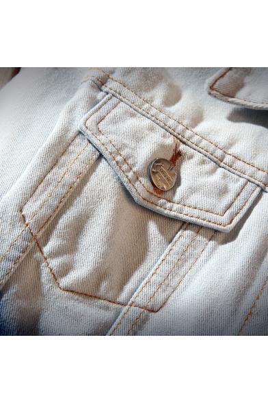 Color Block Letter Print Lapel Single Breasted Long Sleeve Denim Jacket